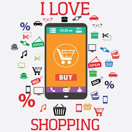 commerce electronique: Shopping avec smartphone. Panier ic�nes. Commerce Electronique. vecteur Illustration