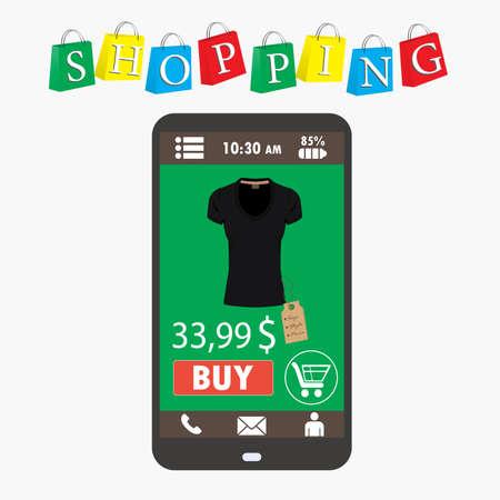 commerce electronique: Shopping avec smartphone. . Commerce Electronique. vecteur Illustration