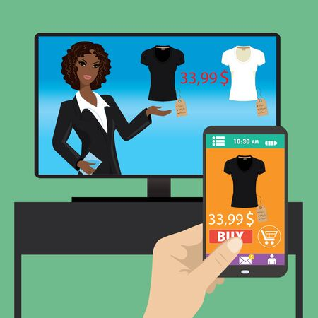 using smartphone: Woman is purchasing black t-shirt online in TV shop using smartphone, vector. Illustration
