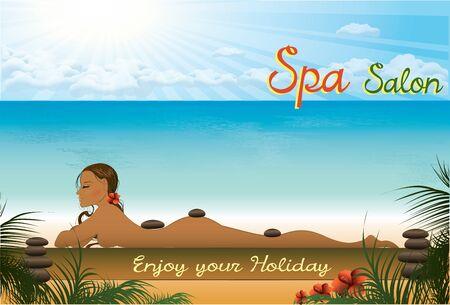 halm: Beautiful girl lying in the spa salon on the beach, vector