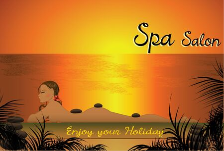 halm: Beautiful girl lying in the spa salon on the beach for sunset, vector