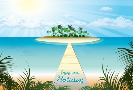 conducts: bridge which conducts on beach paradise . vector