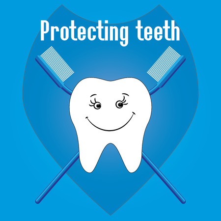 Happy Tooth and tooth brushes, tooth protection, vector Vector