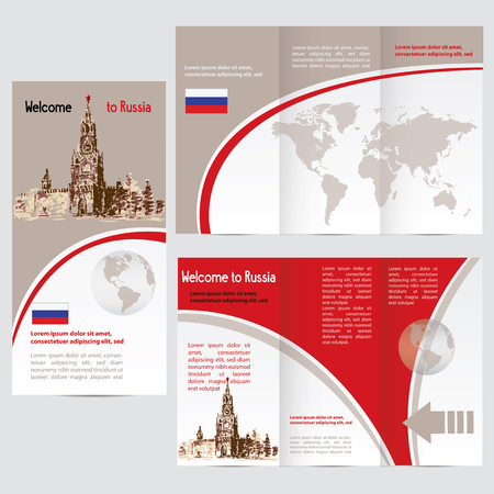 kremlin: Travelers guide or banner with a map, watercolors attractions Kremlin, and text. vector