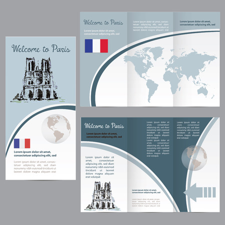 notre: Travelers guide or banner with a map, watercolors attractions Notre Dame, and text. vector