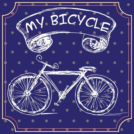 A greeting card or a postcard template with hand-drawn bicycle on grungy background. Vector