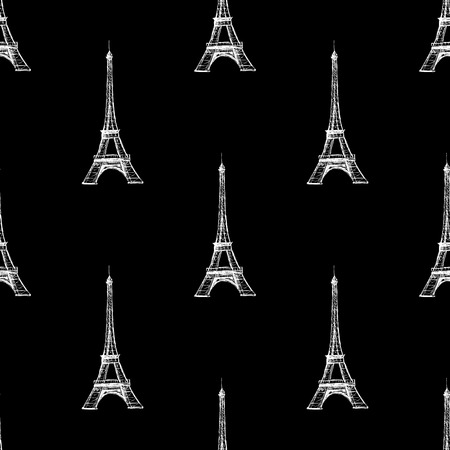 Seamless pattern  background texture. Paris France Eiffel tower on the black background Vector