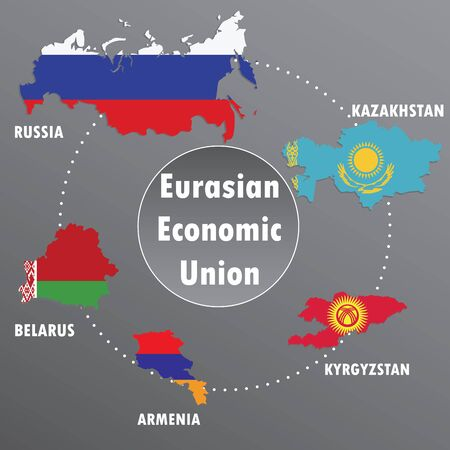 eurasian: Eurasian Economic Union,countries, infographics, map,flag ,vector illustration