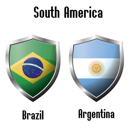 argentina flag: Brazil and Argentina flag icons theme, vector Illustration