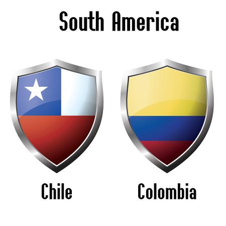 bandera de colombia: Chile y Colombia �conos tema. vector