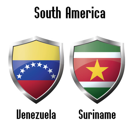 suriname: Venezuela and Suriname flag icons theme, vector