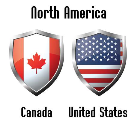 Canada and USA flag icons theme, vector