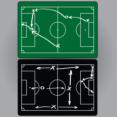 crossbars: Football tactics and movement of players, charts, infographics. vector Illustration