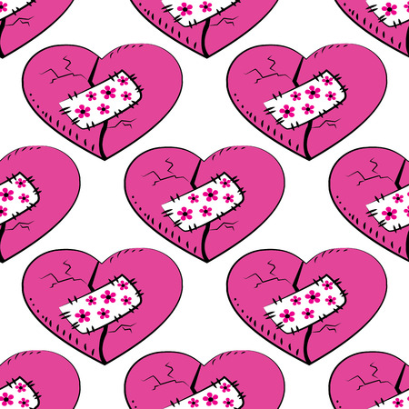 patched: Seamless pattern  broken and patched heart . Seamless pattern can be used for wallpaper, pattern fills, web page backgrounds, surface textures.