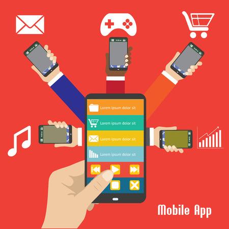 smart phone hand: Mobile App,human hand smart phone illustration. Illustration