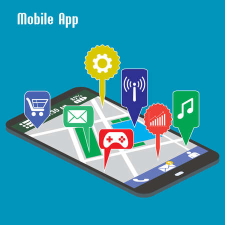 application icons: Smartphone mobile applications,Flat vector.
