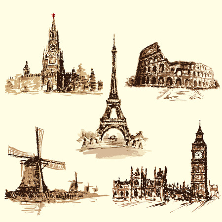 set attractions, the Kremlin, the Eiffel Tower, the Colosseum, the Big Ben, the Dutch Windmill. Watercolor hand-drawing. vector