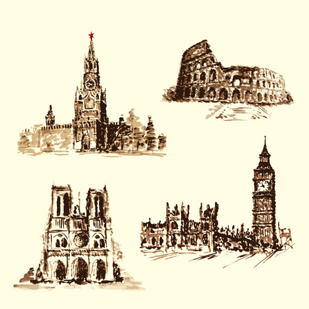 dame: set attractions, the Kremlin, the the Colosseum, the Big Ben, Notre Dame .Watercolor hand-drawing. vector Illustration