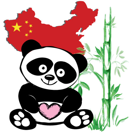 Little  cute panda  with bamboo and Chinese flag, hand drawing, vector Vector