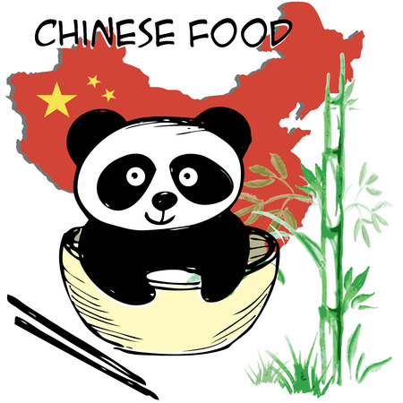 Little  cute panda , bamboo, Chinese flag and map, Chinese food, hand drawing, vector Vector
