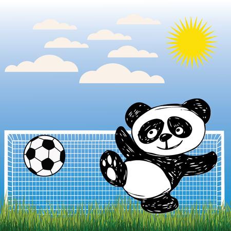 animales salvajes: Panda linda juega a la pelota, f�tbol, ??dibujo a mano, vector