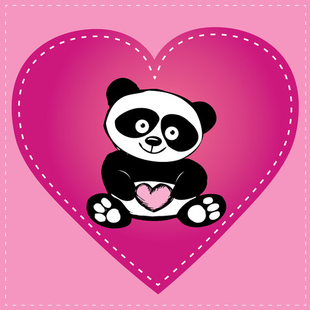 Little  cute panda in heart, hand drawing, vector Vector
