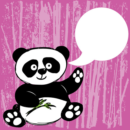 Panda with bamboo branch, waving his paw and place for text , hand drawing, vector Vector