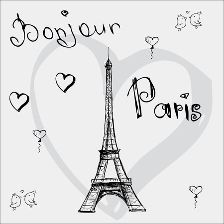 bonjour: Vector hand drawn illustration with Eiffel tower. Bonjour Paris.