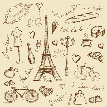 Vector hand drawn illustration with Paris symbols