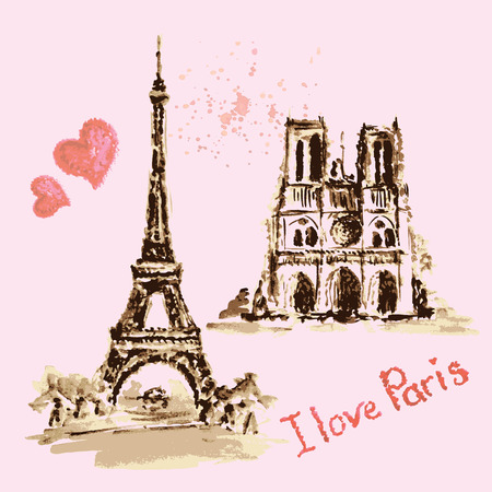 notre dame de paris: Notre Dame de Paris Cathedral, Eiffel Tower, France. Watercolor hand drawing vector illustration