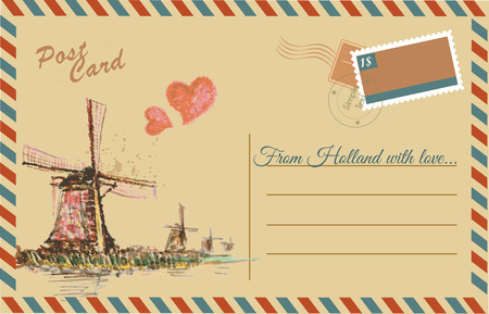 postcard: Vintage postcard with Netherlands windmill,watercolor hand drawing,vector Illustration