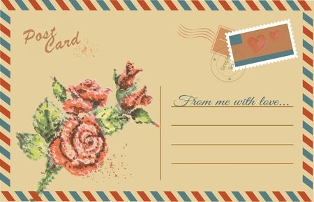 Vintage postcard with Rose flower,watercolor hand drawing,vector Vector