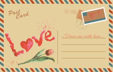 Vintage postcard with Tulip and Love,watercolor hand drawing,vector Vector