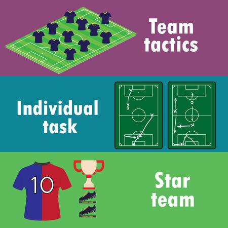 banni�re football: Les conditions de succ�s de l'�quipe dans le football, une banni�re ou l'infographie, vecteur