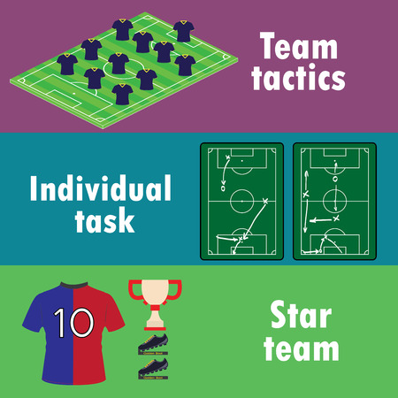 team success: The terms of team success in football, banner or infographics, vector