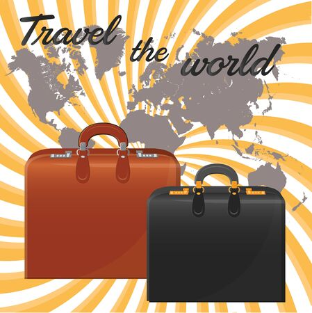 boxed: Suitcases. Against the background of the world map. vector