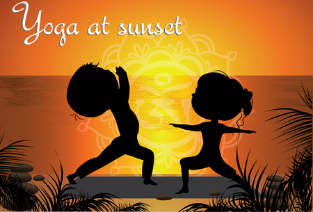 yoga sunset: Silhouette Couple man and woman doing yoga on the beach at sunset, vector background Illustration