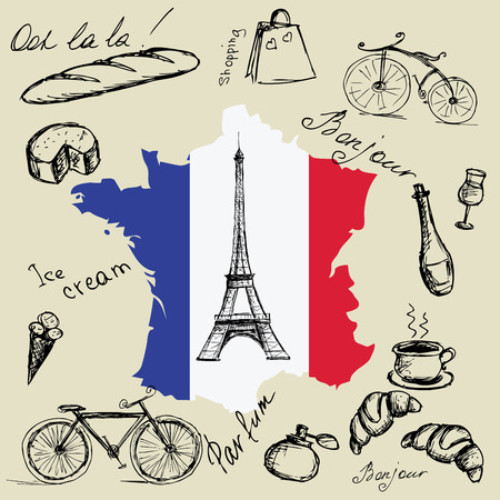 Eiffel tower, map and flag of France and the main symbols of the