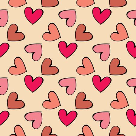 tilling: Seamless pattern hearts Illustration