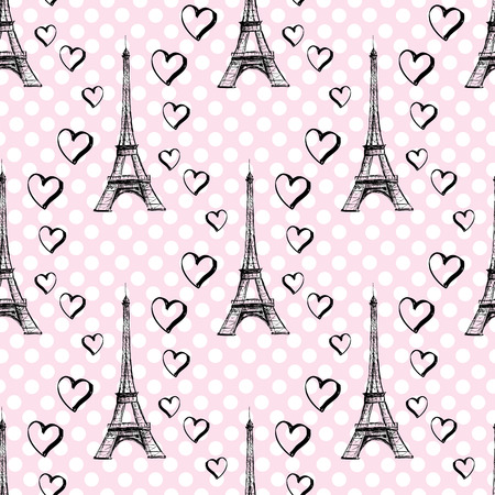 eiffel: Seamless pattern Eiffel Tower with hearts