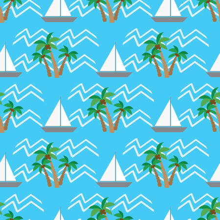 foliate: Seamless pattern  tropical coconut palm trees and waves Illustration