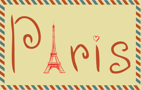 Tower Eiffel with Paris lettering. Vintage Vector illustration Vector