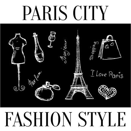 Paris Stadt. Mode-Stil Wahrzeichen der Stadt. Vector Illustration