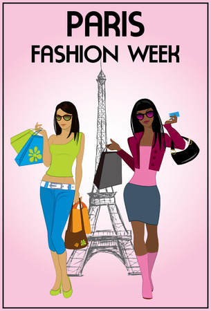 fashion week: Two shopping girls in paris fashion week, vector illustration
