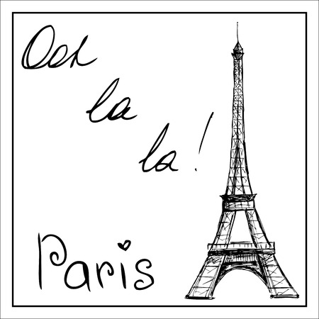 white cheese: Eiffel Tower. The word Paris. On a white background. Hand drawing. vector