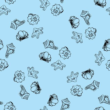 Sea shell pattern. Marine summer seamless background for your design and scrapbooking. Иллюстрация