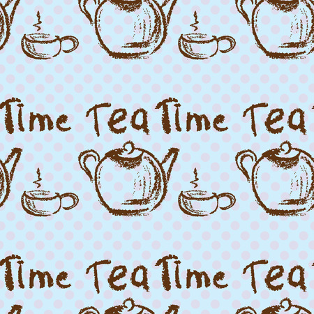 Tea time vintage seamless background. Seamless pattern can be used for wallpaper, pattern fills, web page backgrounds, surface textures. Vector