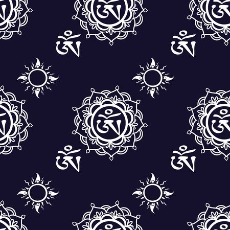 Seamless pattern  with Om ornament.Seamless pattern can be used for wallpaper, pattern fills, web page backgrounds, surface textures.