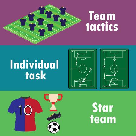 bannière football: Les conditions de succès d'équipe dans le football, une bannière ou l'infographie, vecteur.