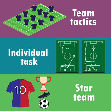 voetbal banner: The terms of team success in football, banner or infographics, vector.
